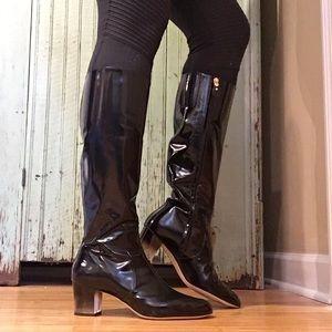 salvatore ferragamo leather clear heel boot 401